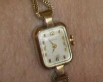 Vintage Caravelle Bulova 10K RGP Stainless Ladies Rectangular Case 17 J Watch w/ 12K G F Braided Band