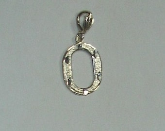"Vintage Sterling Silver Large Diamond Cut Capital Initial Letter ""O"" Charm Bracelet Charm or Necklace Pendant"