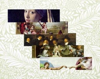 Bookmarks PDF, Great Works of Art: Old Masters, 5 designs, printable digital download