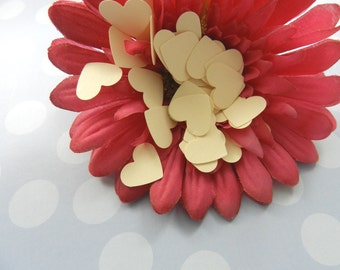 100 Ivory Mini Heart Confetti, Weddings, Anniversaries, Parties, Size:1/2 inch, Party Table Decorations