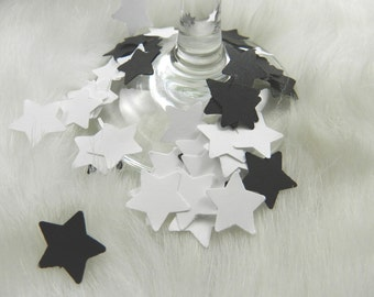 100 White and Black Mini Star Confetti, Anniversaries, Weddings, Decorations, Parties, New Year's