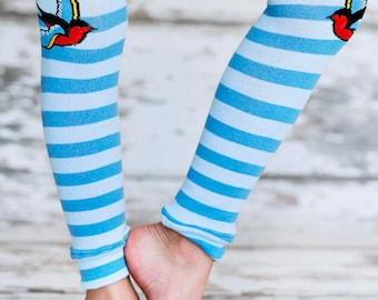 Leg Warmers - Sparrow Tattoo Blue
