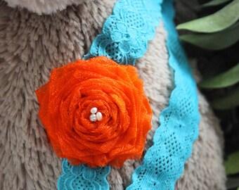 0 to 3m Newborn Orange Teal Flower Lace Headband, Baby Shower Gift Newborn Girl Flower Headband, Pearl Baby Headband Photograpy Prop Gift
