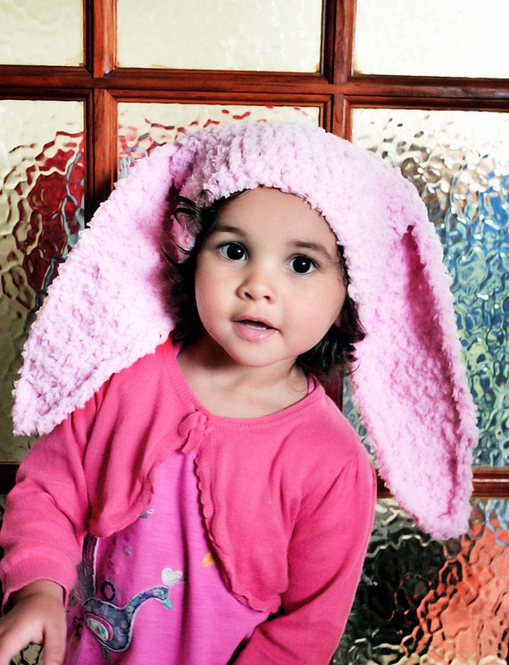 SALE 2T to 4T Pink Bunny Hat, Toddler Child Bunny Costume, Baby Pink Bunny Ears, Crochet Toddler Beanie, Rabbit Hat Bunny Photo Prop