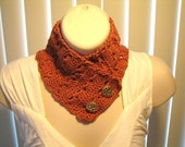 Crochet Neck Warmer in Rust - Hand Crocheted