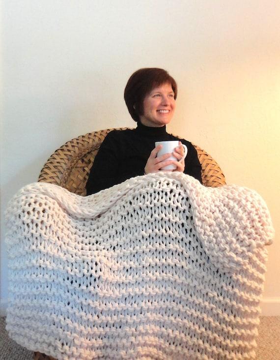 Cream White Chunky Knit Throw Blanket - Great Housewarming Present or Wedding Gift