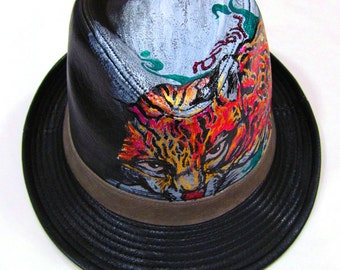 Leather look Jaguar Tattoo Style Handpainted Fedora One of a kind