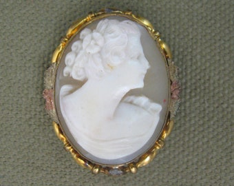 Cameo Brooch, Cameo pendant, cameo jewelry, signed Cameo, old brooch, shell cameo, vintage cameo, antique cameo,  Victorian jewelry
