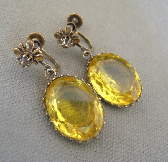 antique gemstone yellow citrine earrings