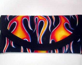 Bags & Purses wallet money clip Hot Rod Dragster Orange Flames fabric 7 x 3 Clutch envelope Handbag accessory men women kids lined same