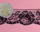 WHOLESALE Black Lace Trim Roses 60 Yards 2-3/4 inch Lot H13A Added Items Ship No Charge