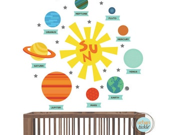 Planet Decals, Solar System Stickers, Nursery Decor, Baby Room, Play room ideas, Gifts for kids