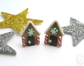 Christmas Gingerbread House Clay Stud Post Earrings - 1cm