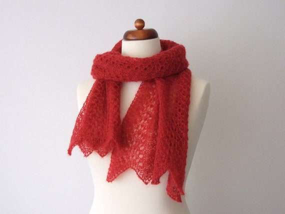 red handknit lace scarf