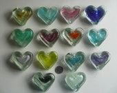 Stocking Stuffer ,Glass Heart, Valentines Blown Glass Heart Paperweight Wedding  or Party favor