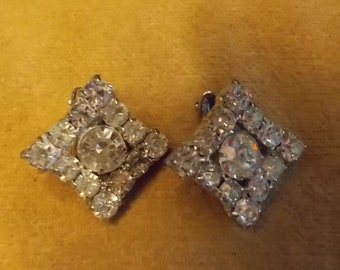 Vintage Rhinestone Square Clip Earrings