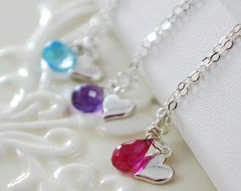 Custom Girls Birthstone Necklace, Valentine's Day, Child Children, Flower Girl, Heart, Real Genuine Gemstone, Sterling Silver Jewelry