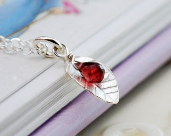 Sterling Silver Necklace Garnet Genuine Red Gemstone Child Children Girl Small Leaf Charm January Birthstone Jewelry Semiprecious Stone