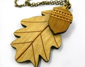Wooden Leaf and Acorn Necklace