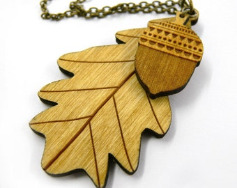 Woodland leaf and acorn necklace ~ laser cut jewellery
