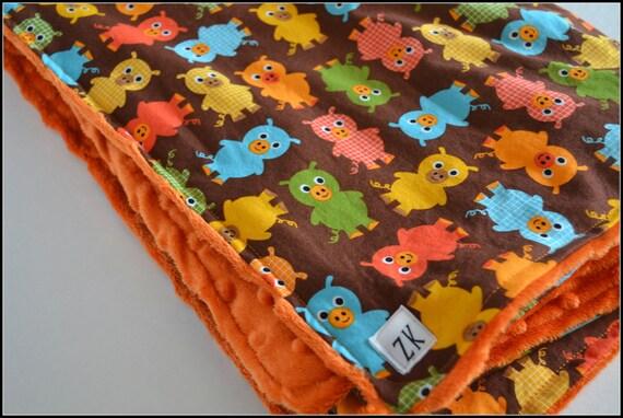 Blanket - Cotton - Minky - Piggies - Orange - Ready to Ship - Seconds