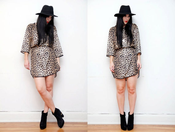 Leopard Print Boho Mini Dress