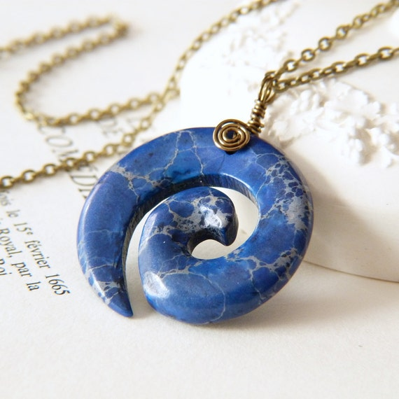 Lapis Blue Magnesite Spiral Necklace - Wire Wrap Jewelry