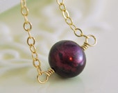 Simple Choker Necklace, Genuine Freshwater Pearl, Mulberry Wine Burgundy, Autumn, Gold Filled Jewelry, Free Shipping