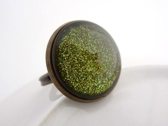 Green Glitter Ring, Adjustable Brass Ring