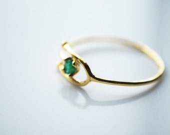 Adjustable Solid 10K Gold Ring with Emerald Stone, May Birthstone - FREE US SHIPPING