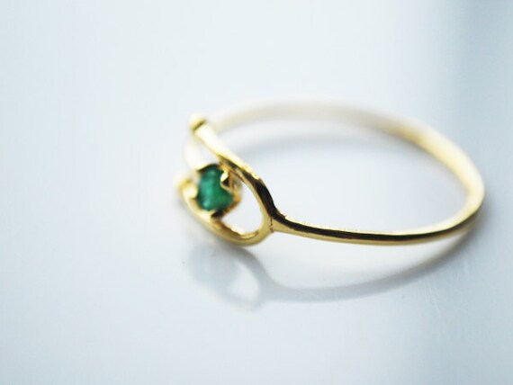 Adjustable Solid 10K Gold Ring with Emerald Stone FREE by muijade