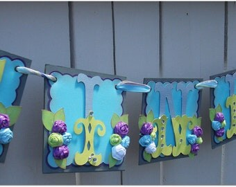 Handmade Banner - Custom made - GO GREEN - Name Banner Happy Birthday Baby Shower Bridal Shower Flower