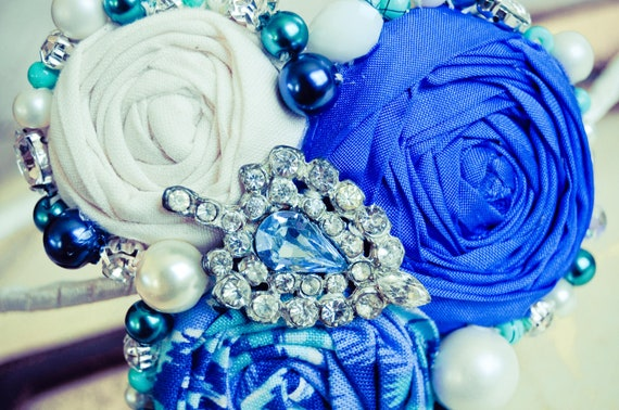 Blue Aqua White Rosette Headband