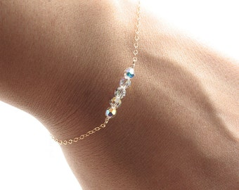 Dainty Everyday Gold Chain Bracelet - Floating Swarovski Crystal Clear AB Faceted Beads - Delicate, Feminine & Simple