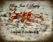 "Rivets, Brads, Copper, Nail Head, 1/4"" for Riveting Your Metal Blanks, Filigree, Jewelry, Leather... 50 for You"