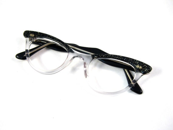 sparkles and stars cat eye glasses. black and clear. cute. NOS/deadstock new old stock. retro ZYCOM brand.