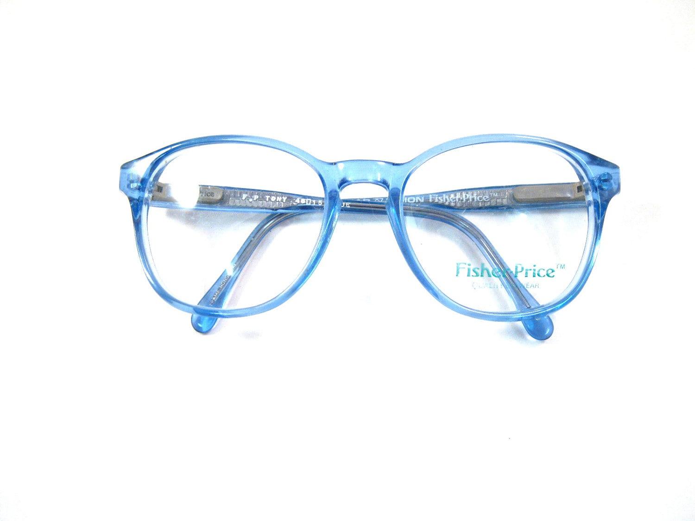 baby blue plastic eyeglasses. periwinkle circular 80s new old
