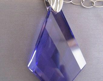 Sterling Purple Swarovski Crystal Pendant Necklace