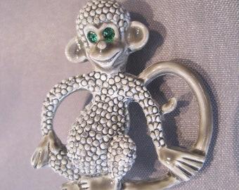 Vintage Gray Enamel Rhinestone Monkey Pin