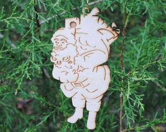 Natural Wood Santa Ornament --CLOSE OUT (special price)