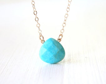 Turquoise Faceted Teardrop Necklace / 14k Gold Filled Chain / simple delicate dainty modern jewelry