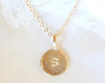 CUSTOM- Stamped Gold Vermeil Initial Necklace-on 14K Gold Filled Chain- Simple everyday hammered initial jewelry