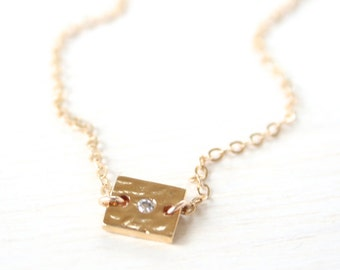 Pixie - Tiny Square Gold and Crystal Bar Necklace - Simple everyday modern jewelry