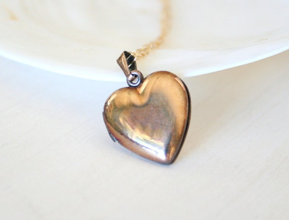 Shining Vintage Vermeil Heart Locket Necklace -on gold filled chain
