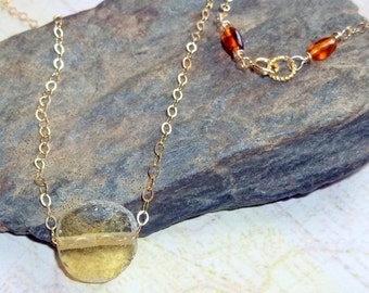 Ancient  Roman Glass and Amber Gemstone Necklace Gold Fill earthegy