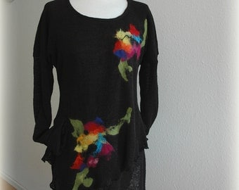 LINEN Knitted Black Tunic Sweater With Flower Appliques Eco Friendly Clothing  Natural M L Size