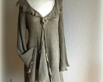 LINEN Cardigan Asymmetrical  Knitted Linen Natural Eco Friendly Clothing Unique Fashion Natural S-M Size