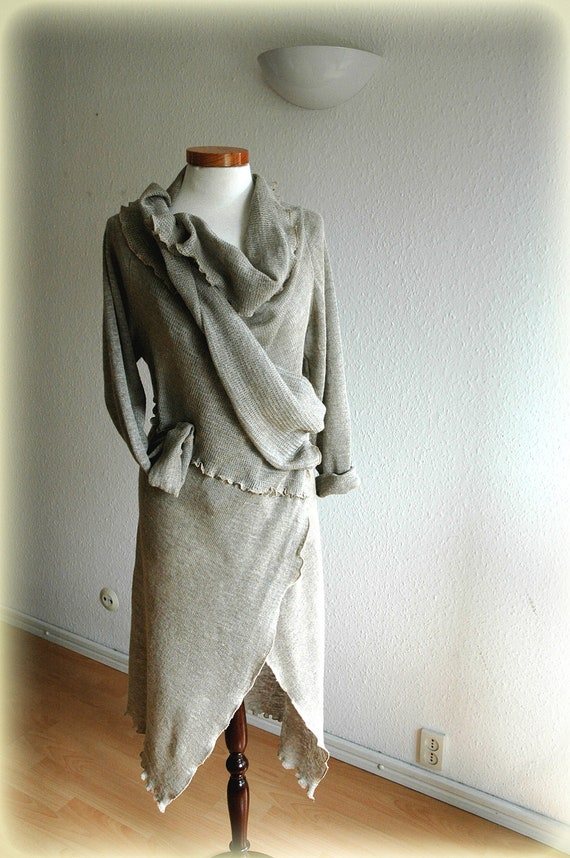 Natural Cardigan With Linen Knitted Eco Friendly Clothing Natural Sweater Wrap M L Size