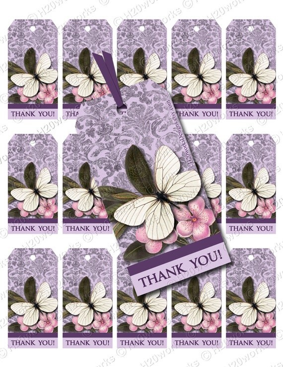 Purple Butterfly Digital Gift Tags - Lilac, Lavender, Damask, Shabby Chic, Elegant, Thank You, PRINTABLE