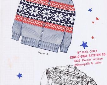 Knit-O-Graf Adult Fair Isle Sweater Knitting Pattern